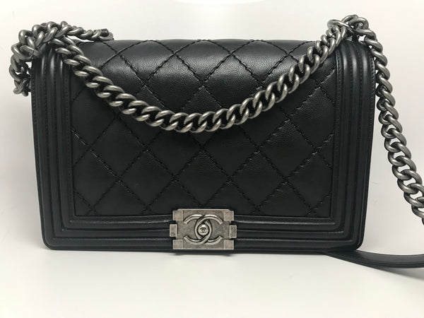 CHANEL LARGE BOY FLAP BAG - BLACK CALFSKIN