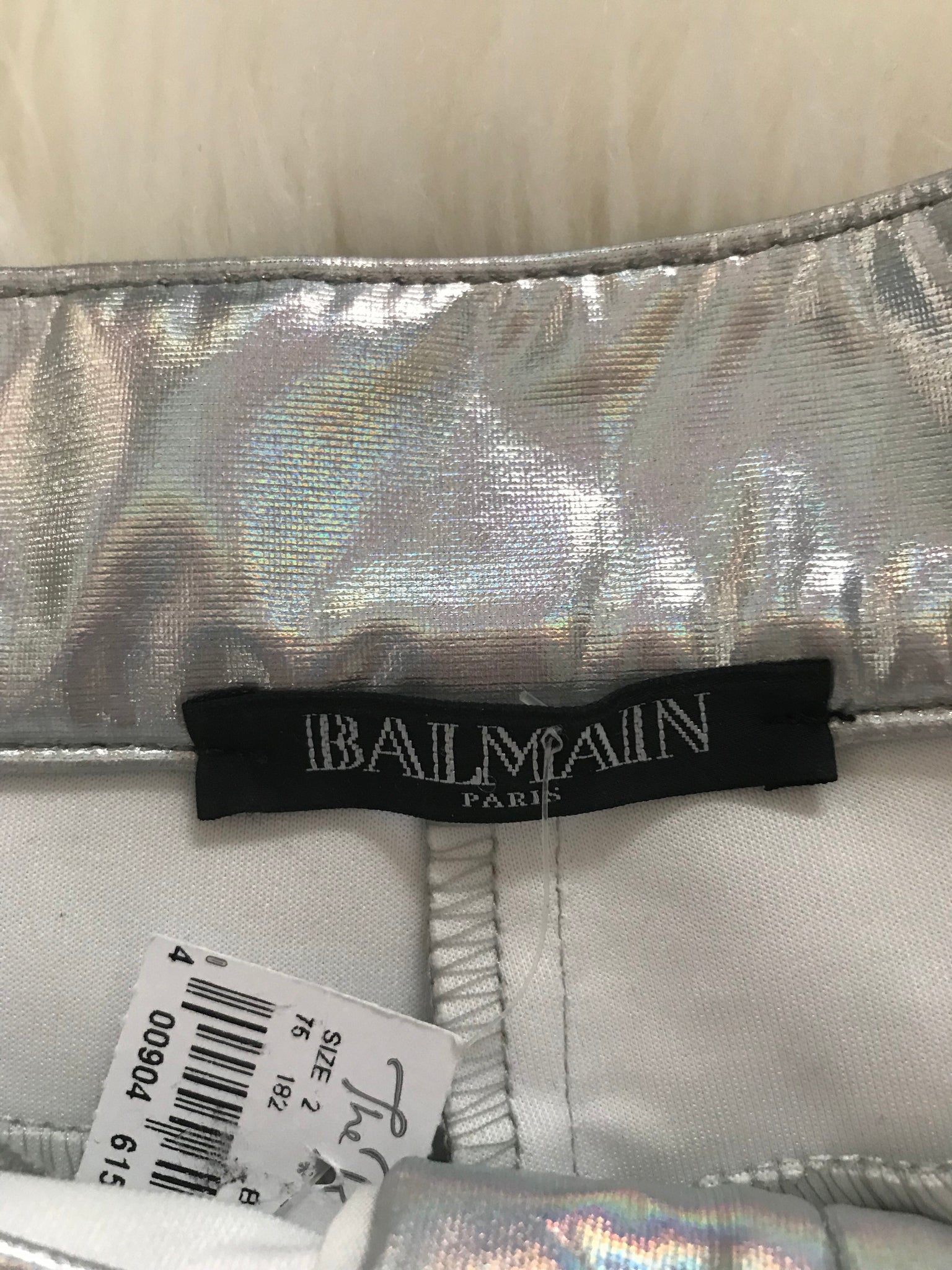 BALMAIN HOLOGRAPHIC SILVER MOTORCYCLE HIGH WAISTED PANTS - SIZE 2, 34