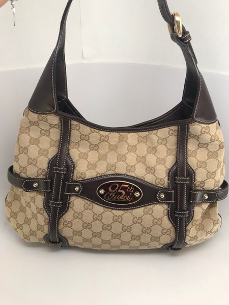 GUCCI GG HORSEBIT CANVAS HOBO PURSE