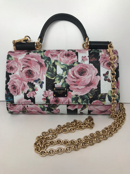 DOLCE & GABBANA SICILY MINI VON BAG WOC - ROSE/FLORAL DAUPHINE LEATHER