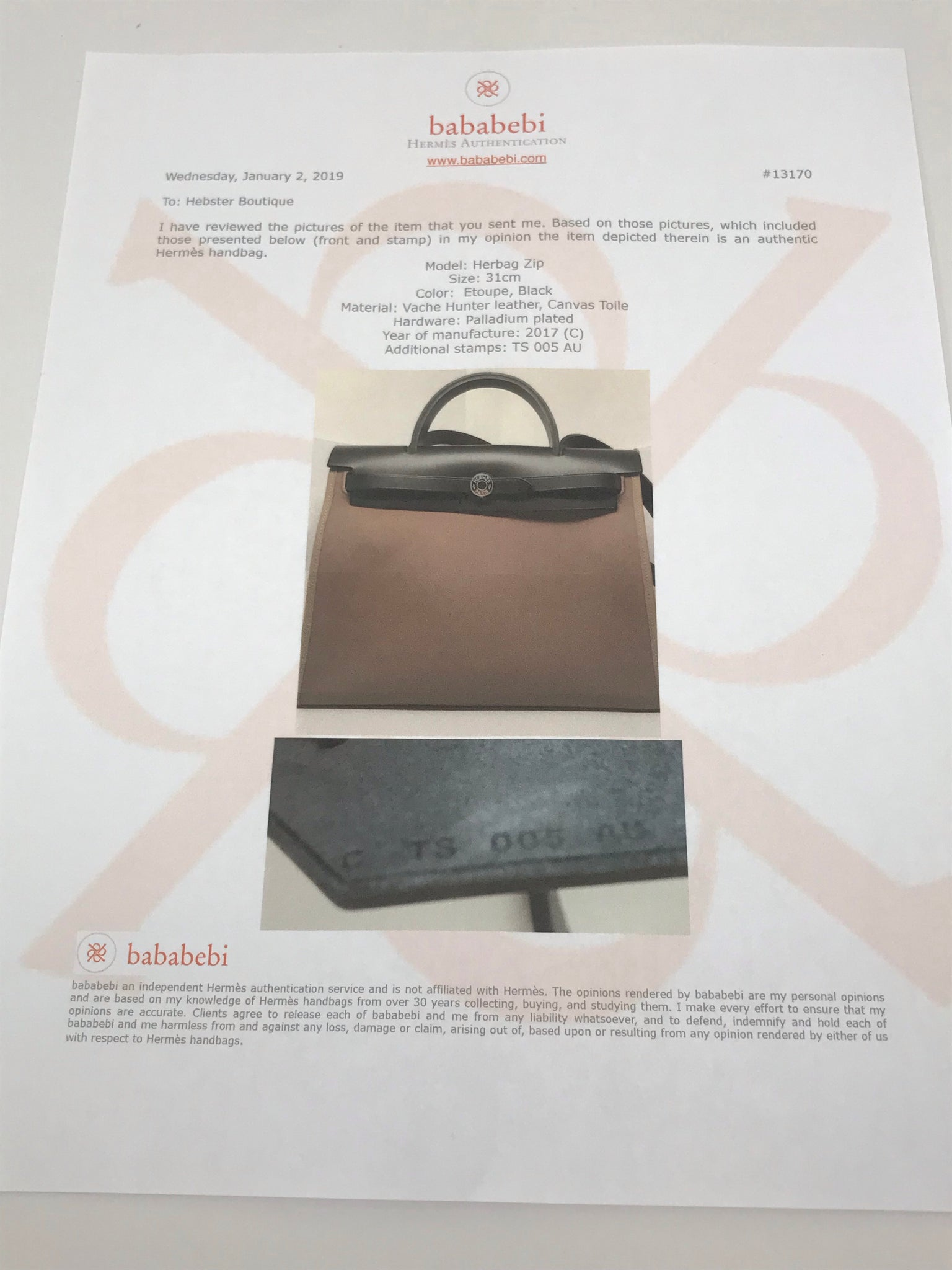 HERMES HERBAG ZIP 31 - ETOUPE/BLACK VACHE HUNTER LEATHER