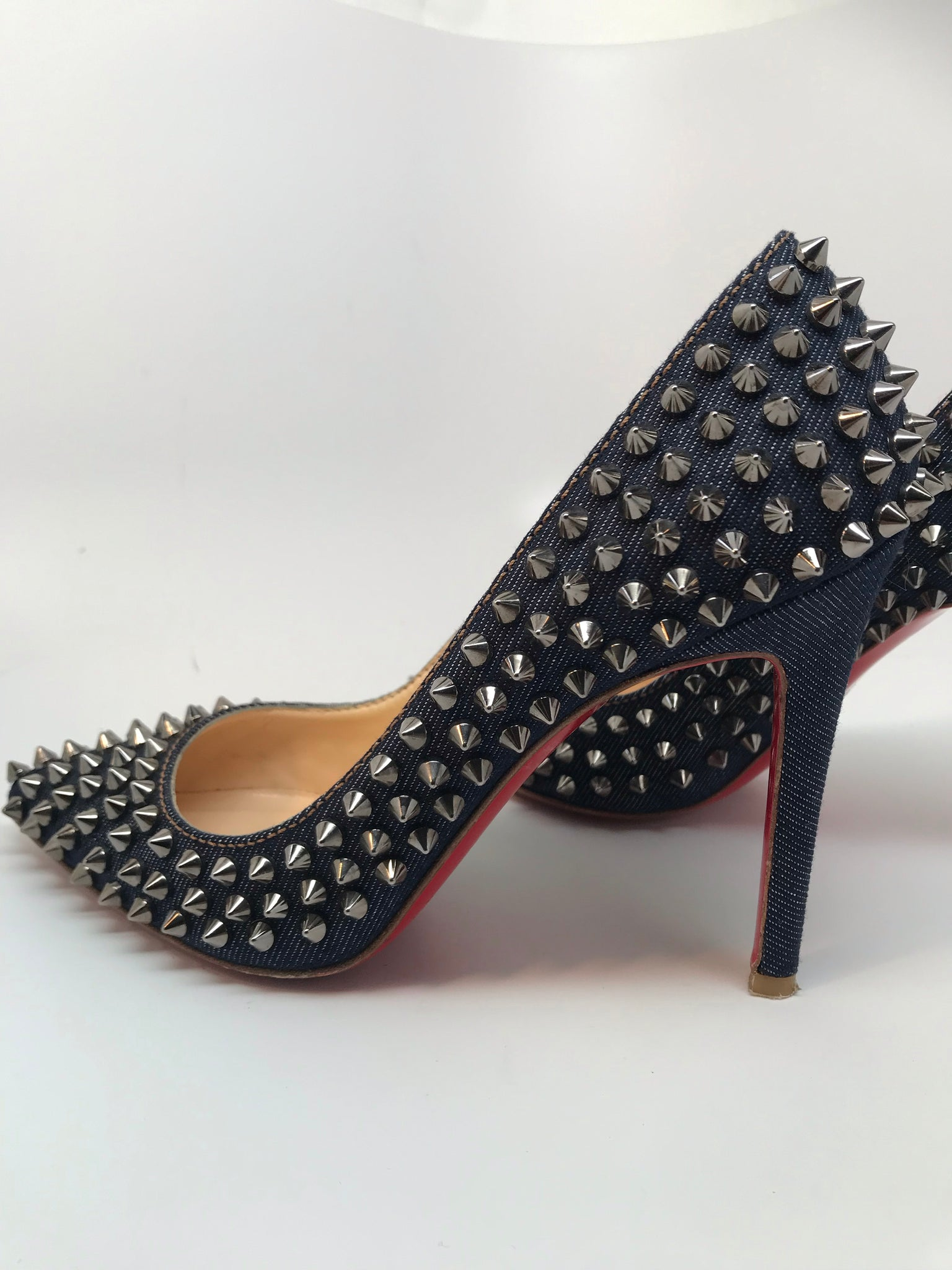 CHRISTIAN LOUBOUTIN PIGALLE 100 STUDDED DENIM PUMPS - SIZE 36.5