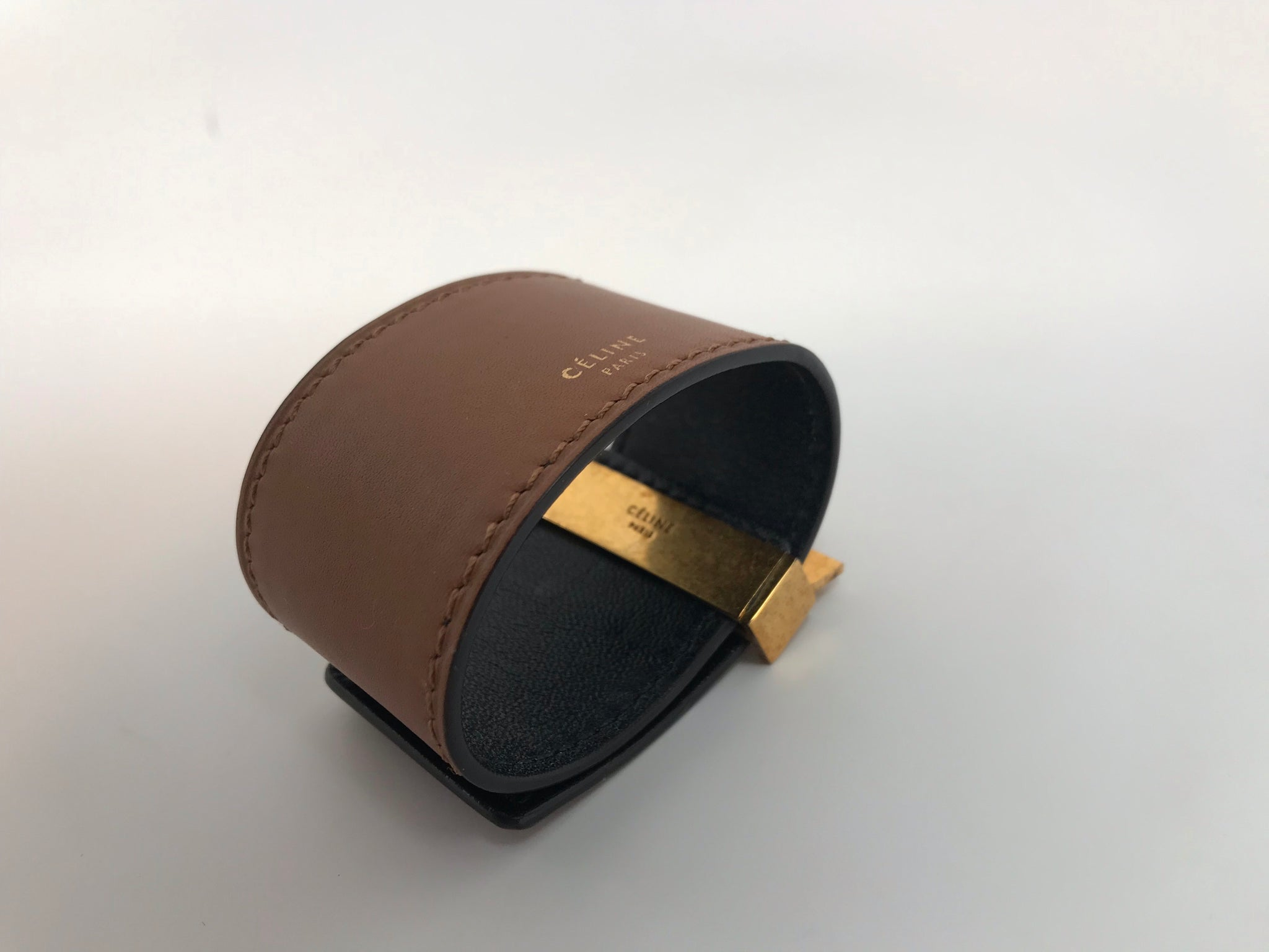 CELINE BROWN LEATHER CUFF BRACELET - SMALL