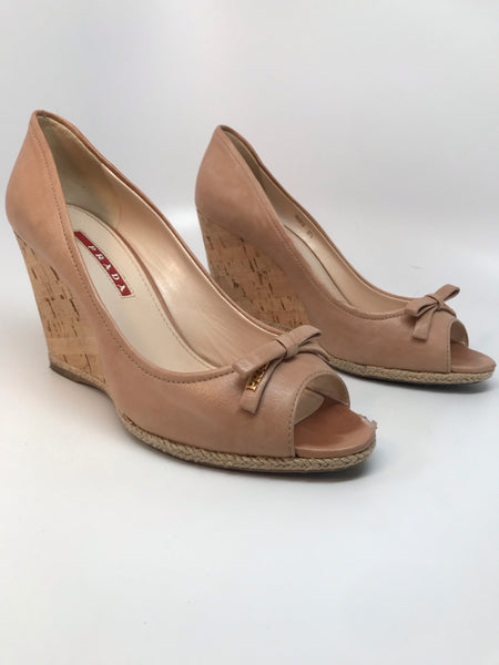PRADA NUDE NAPPA LEATHER WEDGE SANDAL - SIZE 37.5