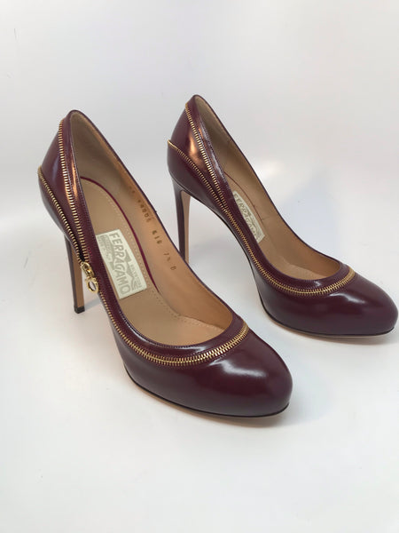 SALVATORE FERRAGAMO RORY PUMP - CORNIOLA CALFSKIN LEATHER - SIZE 7.5