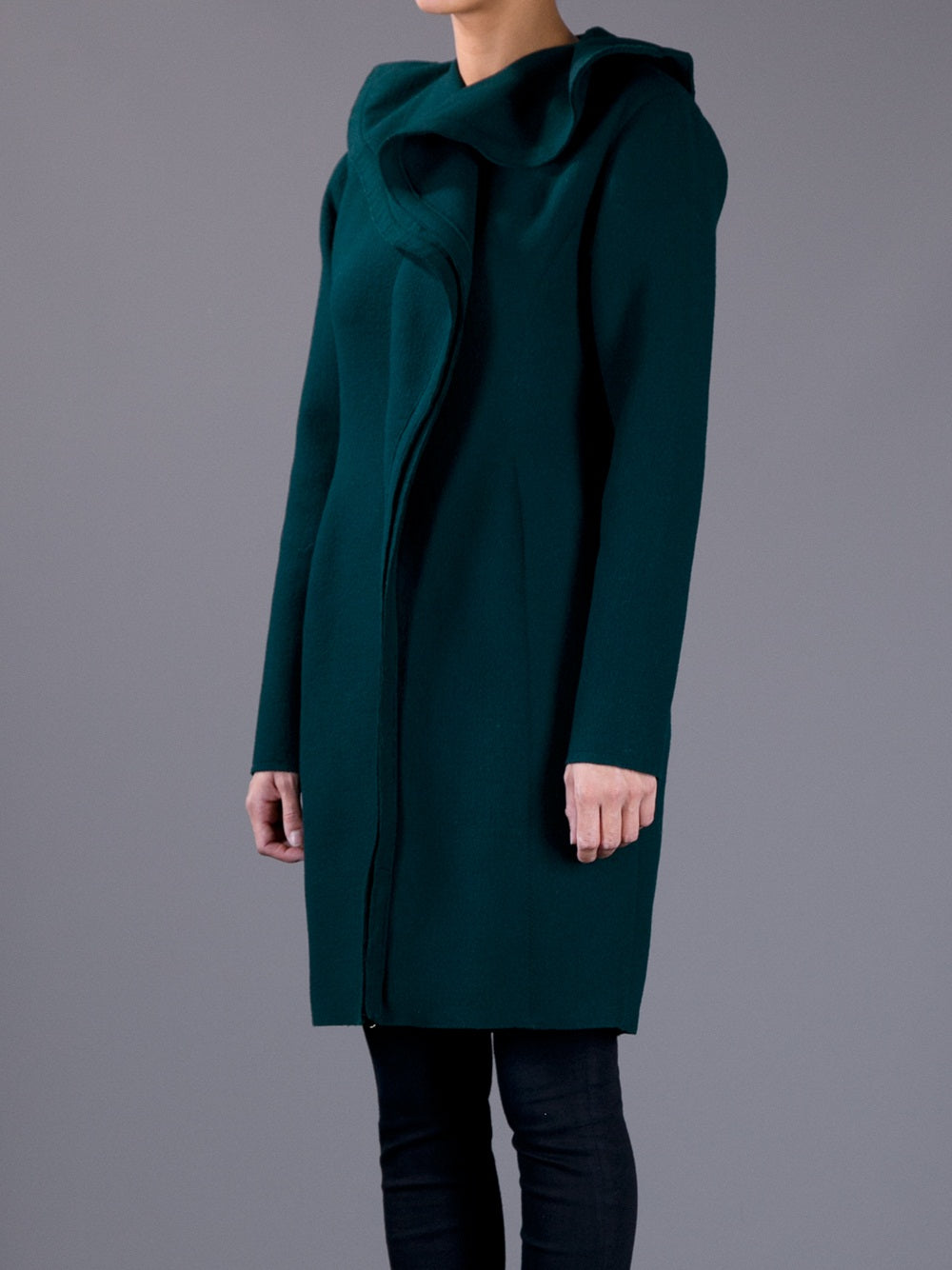 LANVIN WOMEN'S GREEN OVERSIZED RUFFLE COLLAR COAT - SIZE EU 40