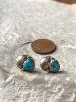 Vintage Sterling Silver Leaf And Turquoise Stud Earrings.