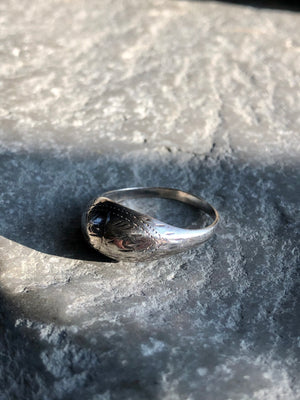 Vintage Sterling Silver Etched Ring Size 7.5