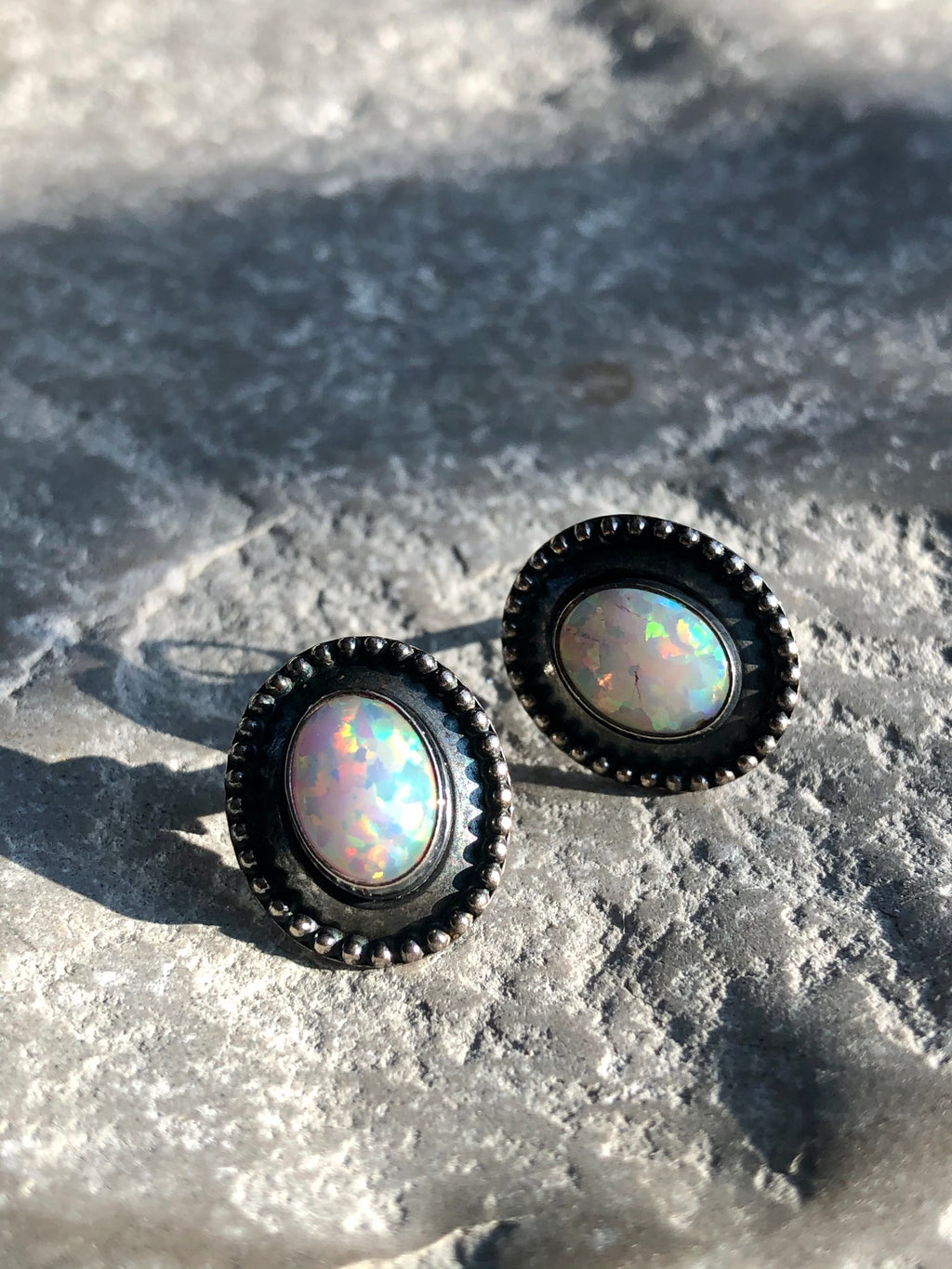Gorgeous Vintage Fire Opal Sterling Silver Stud Earrings