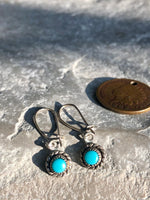 Vintage Dainty Sterling Silver Turquoise Sun Earrings