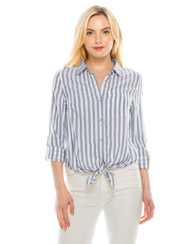 ZIMEGO  Women's Roll Up Sleeve Crop Top Tie Front Chambray Stripe Shirts