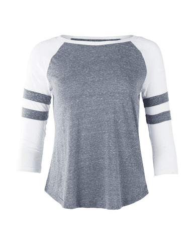 ZIMEGO Junior Fit Women's Baseball Raglan Color Block 3/4 Sleeve Active Tees