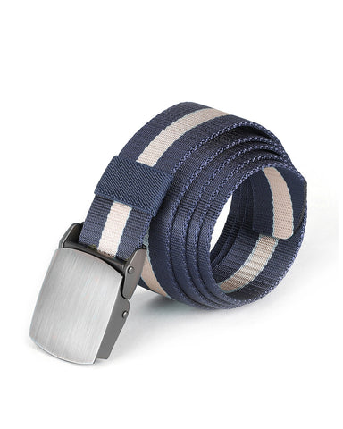 ZIMEGO Mens One Size Adjustable Strap Stripe Nylon Web Belt With Metal Buckle