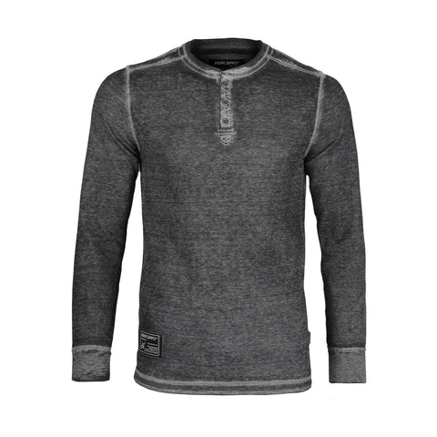 Dream Supply by ZIMEGO Men's Long Sleeve Lightweight Waffle Thermal henley Burnout Garment Dye