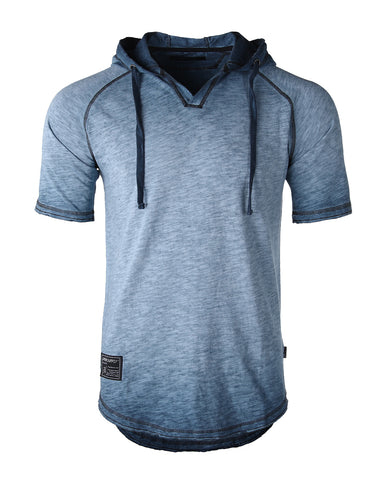 ZIMEGO Men's Short Sleeve Color Block Raglan Hoodie With Curved Hem - HEATHER BLUE