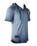 ZIMEGO Short Sleeve Vintage Garment Dyed Hooded Raglan Henley - BLUE