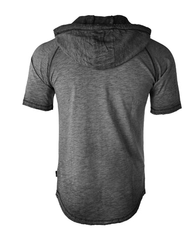 ZIMEGO Short Sleeve Vintage Garment Dyed Hooded Raglan Henley - CHARCOAL