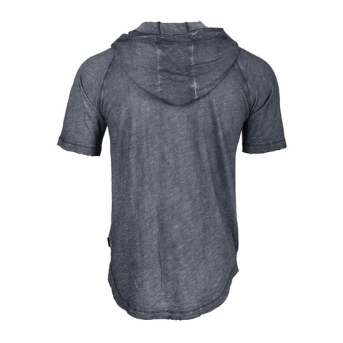 ZIMEGO Short Sleeve Vintage Garment Dyed Hooded Raglan Henley
