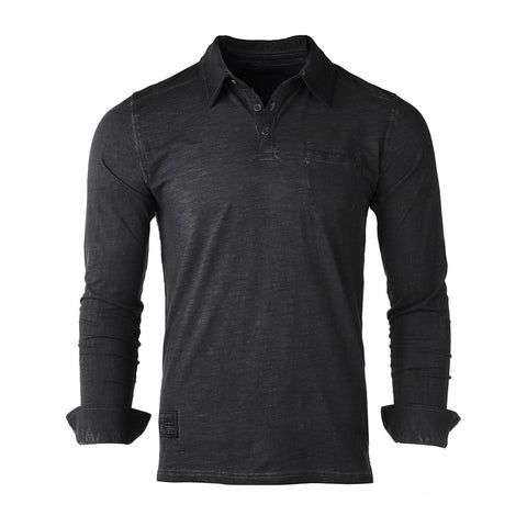 NEW ARRIVAL! ZIMEGO Mens Long Sleeve Oil Wash Vintage Henley Button Cuffs Pocket Polo T-Shirt