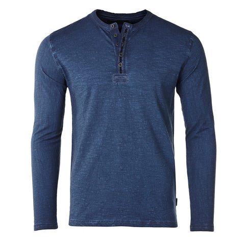ZIMEGO Mens Long Sleeve Crew Neck Oil Wash Vintage Button Henley T-Shirt