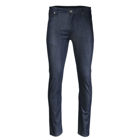 ZIMEGO Men's Slim Cut Skinny Fit Stretch Raw Denim Pants Classic Five Pocket Jeans - INDIGO
