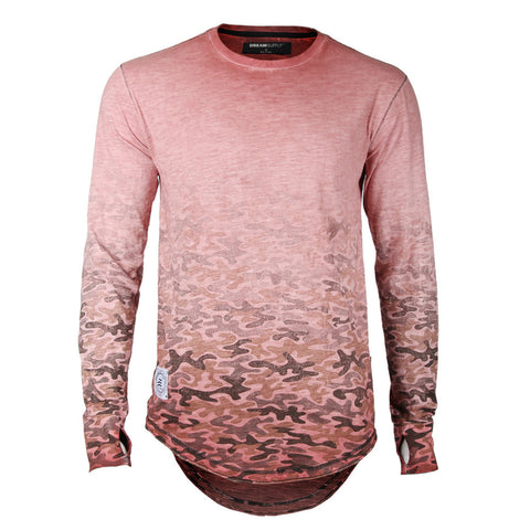 Men's Long Sleeve Camouflage Longline Round Bottom Oil Wash T-shirts