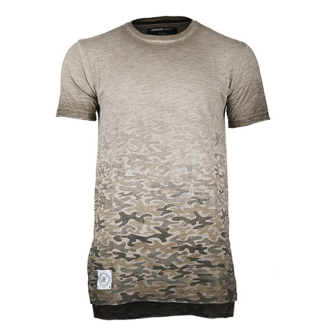 Men's Short Sleeve Camouflage Longline Side Slit Oil Wash T-shirts BROWN