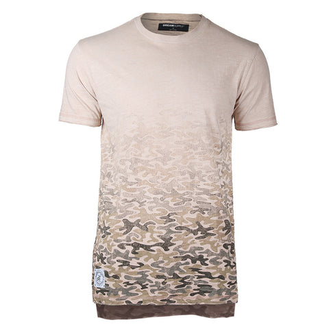 Men's Short Sleeve Camouflage Longline Side Slit Oil Wash T-shirts PINK