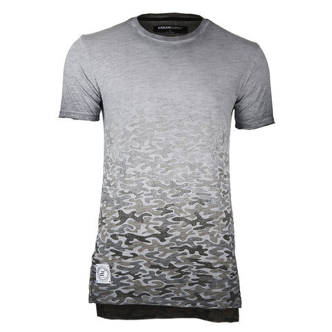 Men's Short Sleeve Camouflage Longline Side Slit Oil Wash T-shirts SLATE
