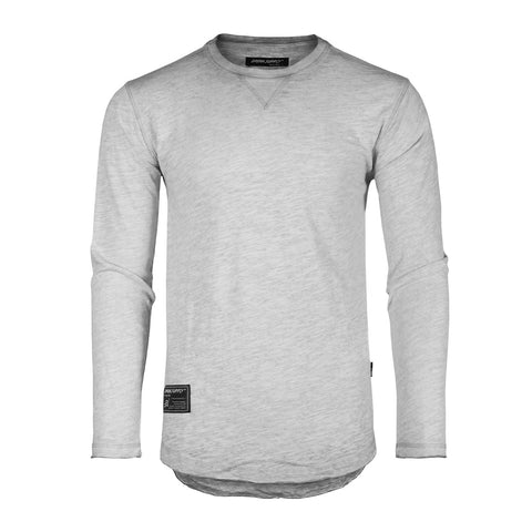 DREAM SUPPLY by ZIMEGO Mens Long Sleeve Crewneck Oil Wash Vintage Raw Edge Hem Hipster Hip-Hop T shirt - Silver Grey