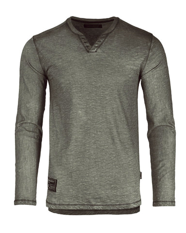 Dream Supply by ZIMEGO Mens Long Sleeve V-Neck Henley Oil Wash Contrast Seam Vintage Shirt