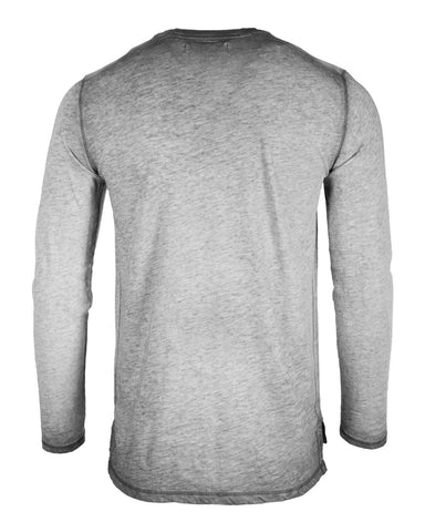 ZIMEGO Mens Long Sleeve V-Neck Henley Oil Wash Contrast Seam Vintage Shirt - Silver Grey