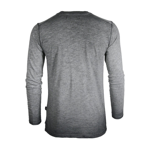 Dream Supply Mens Long Sleeve V-Neck Henley Oil Wash Contrast Seam Vintage Shirt - Charcoal