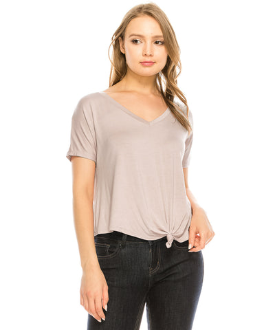 ZIMEGO Women's Surplice V Neck Crop Top Roll Up Short Sleeve Casual Blouse