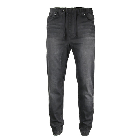 Victorious by ZIMEGO - Mens Vintage Washed Denim Jogger Pants - BLACK