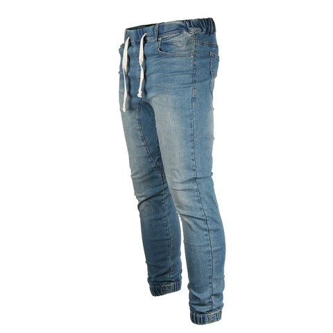 Victorious by ZIMEGO - Mens Vintage Washed Denim Jogger Pants - VINTAGE DENIM