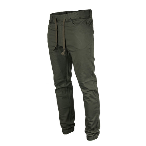 Victorious by ZIMEGO - Mens Twill Jogger Pants - DARK OLIVE