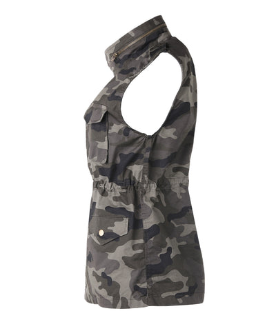 ZIMEGO  Women's Lightweight Sleeveless Safari Pockets Military Hooded Vest