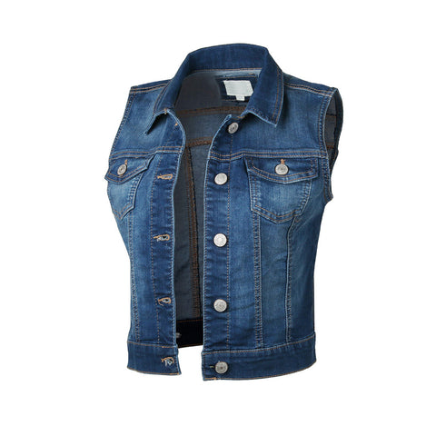 ZIMEGO  Womens Juniors Sleeveless Button Up Jean Denim Crop Top Jacket Vest