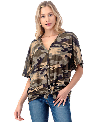 ZIMEGO Women's Short Sleeve Loose Fit Dolman Tunic Front Knot Top Casual Shirts