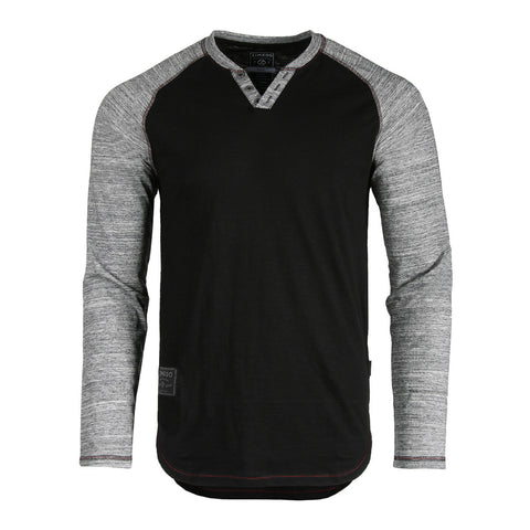 ZIMEGO Long Sleeve Contrast Raglan Henley V-Neck T-Shirts - Black Body