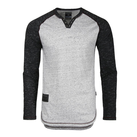 ZIMEGO Long Sleeve Contrast Raglan Henley V-Neck T-Shirts HEATHER DOT