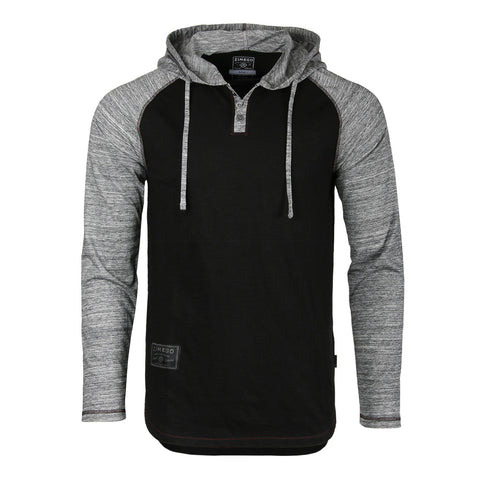 ZIMEGO Long Sleeve Raglan Henley Round Bottom Hood T-Shirts - BLK/HGRY