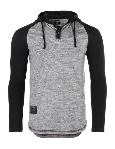 ZIMEGO Long Sleeve Raglan Henley Round Bottom Hood T-Shirts - GREY / BLACK