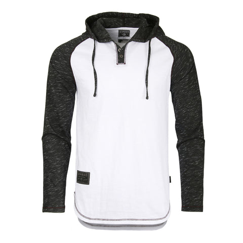 ZIMEGO Long Sleeve Raglan Henley Round Bottom Hood T-Shirts - WHITE/BLK