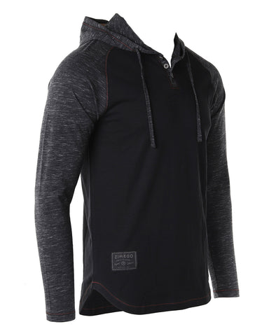 ZIMEGO Long Sleeve Raglan Henley Round Bottom Hood T-Shirts - BLACK / BLACK