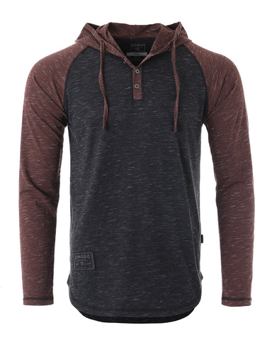 ZIMEGO Long Sleeve Raglan Henley Round Bottom Hood T-Shirts - BLACK / MAROON