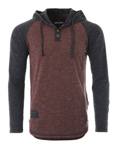 ZIMEGO Long Sleeve Raglan Henley Round Bottom Hood T-Shirts - MAROON / BLACK