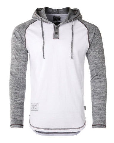 ZIMEGO Long Sleeve Raglan Henley Round Bottom Hood T-Shirts - WHITE / GREY