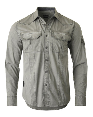 ZIMEGO Men's Stretch Flex Slim Color Washed Vintage Rugged Fashion Button Shirts